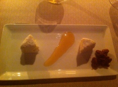 Here is the cheese plate, which I had for dessert, with a sublime Madeira.