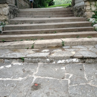 Steps before a stone feature at Laguna Gloria
